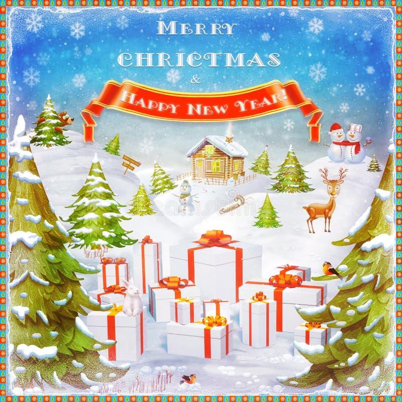 Feliz Natal e ilustração do fundo do ano novo feliz ilustração stock