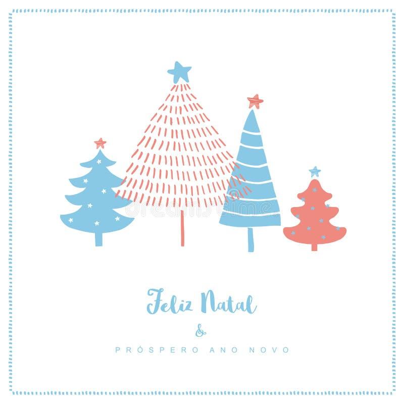 Feliz Natal e Prospero Ano Novo - Joyeux Noël et bonne année Carte portugaise de vecteur de Noël illustration de vecteur