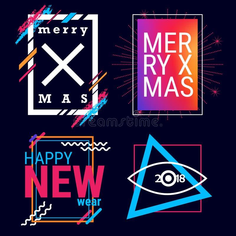 Feliz Natal e quadro do vetor do ano novo feliz para o projeto do texto Gráficos da arte moderna para modernos ilustração royalty free