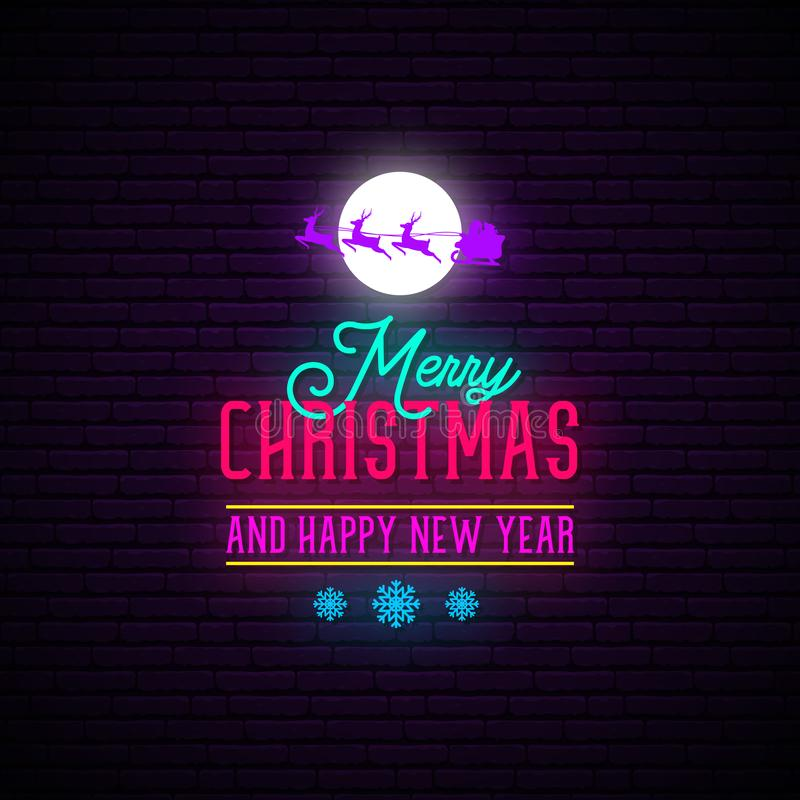 Feliz Natal e sinal de néon de ano novo feliz ilustração do vetor