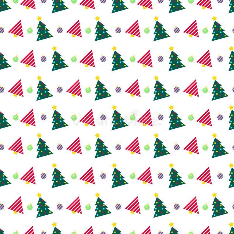 Feliz Natal e teste padrão sem emenda do ano novo feliz com árvore de Natal Papel de envolvimento dos feriados de inverno ilustração royalty free