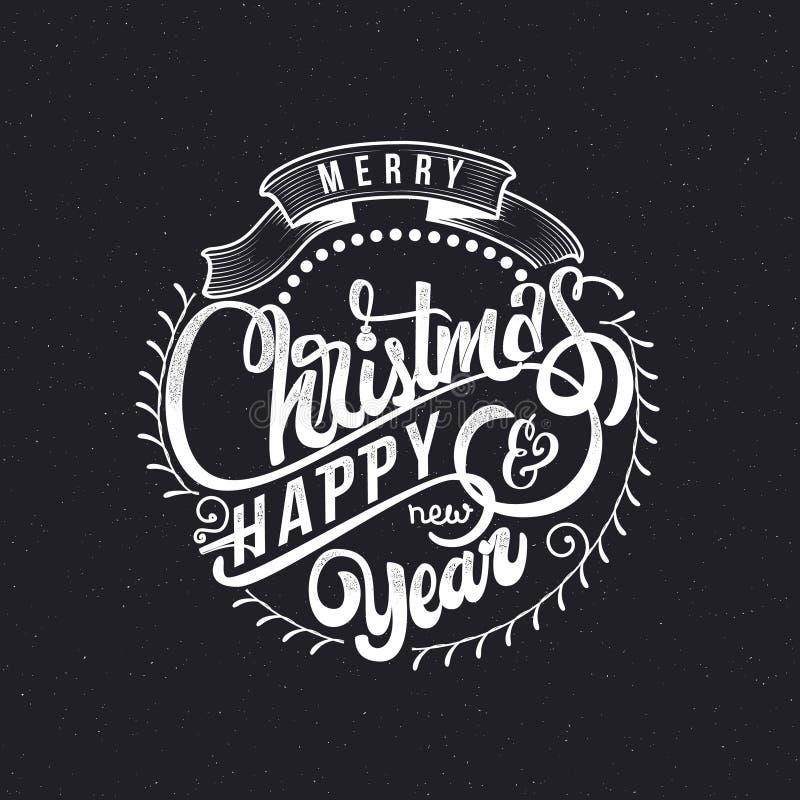 Feliz Natal e texto 2017 da mão-rotulação do ano novo feliz Caligrafia feito a mão do vetor para seu projeto ilustração royalty free