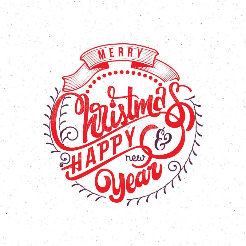 Feliz Natal e texto 2017 da mão-rotulação do ano novo feliz Caligrafia feito a mão do vetor para seu projeto ilustração do vetor