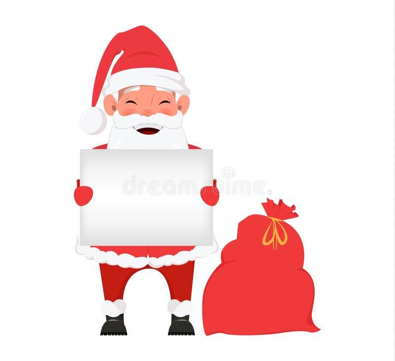 Feliz Natal e um cartão do ano novo feliz com a Santa de sorriso que guarda o cartaz e a posição vazios perto do saco com present ilustração do vetor