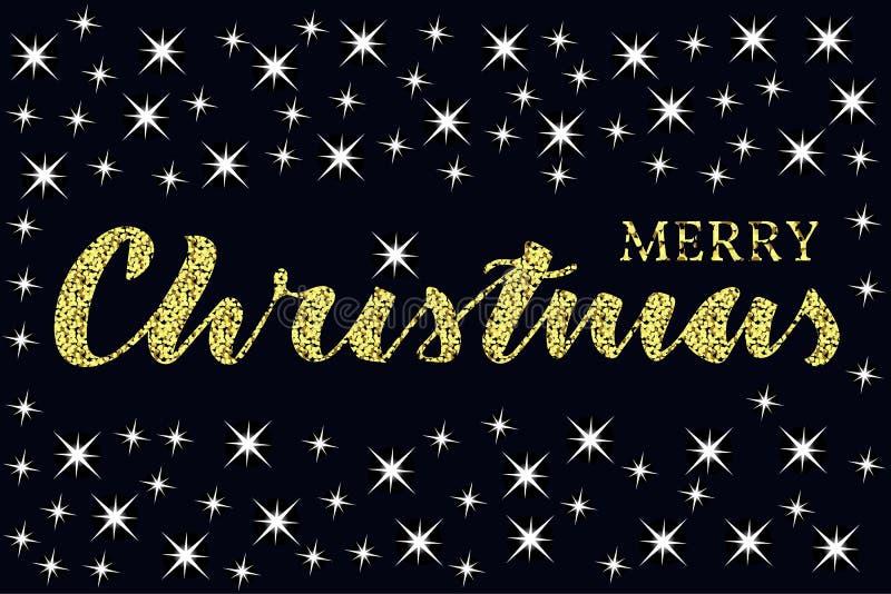 Feliz Natal escrito citações com algumas estrelas da faísca Textura do brilho ilustração stock