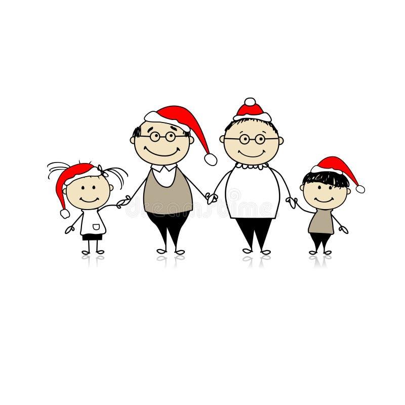 Feliz Natal. Família feliz junto ilustração royalty free