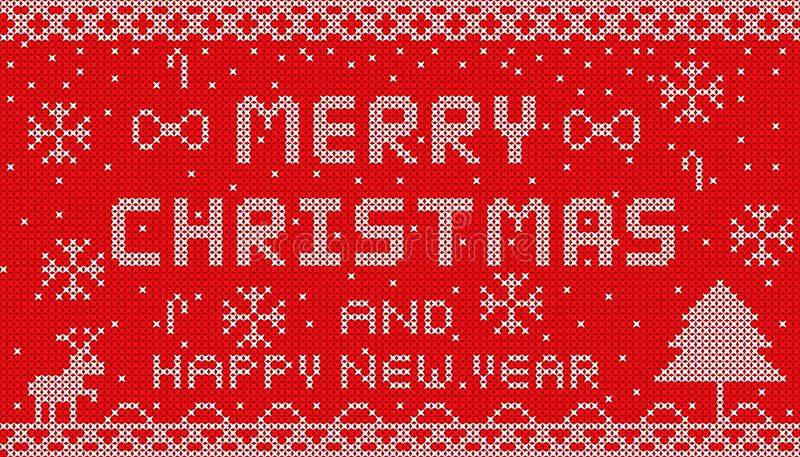 Feliz Natal feito malha 2018 no projeto vermelho do fundo ilustração royalty free