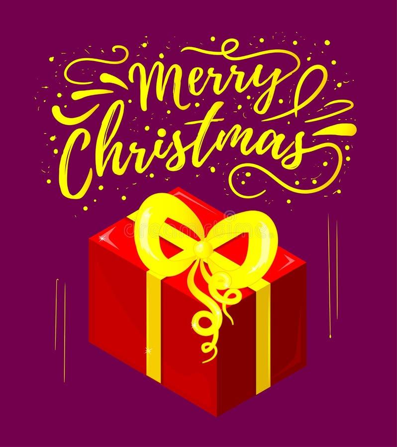 Feliz Natal Feriado de inverno Cartão com a ilustração da inscrição e do presente ilustração stock