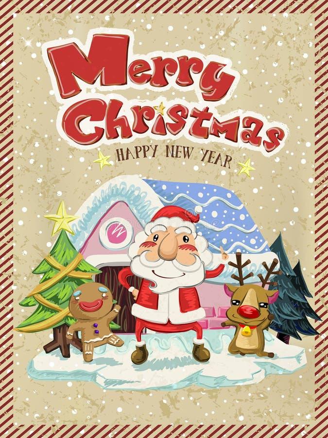 Feliz Natal gráfico com o homem de Santa, de alces e de gengibre ilustração royalty free