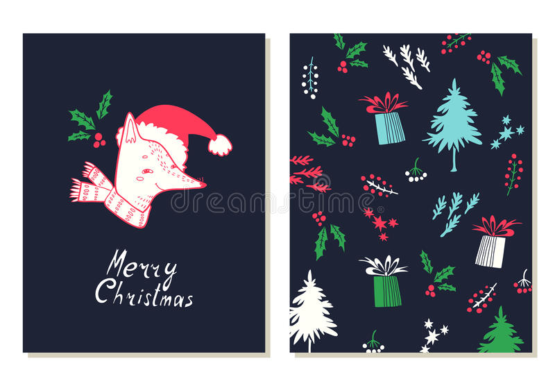 Feliz Natal Grupo de cartões com símbolos do Natal ilustração do vetor