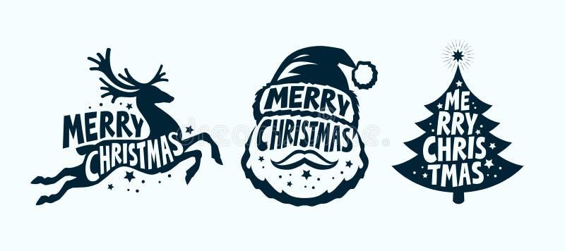 Feliz Natal, grupo de etiqueta Símbolo do Xmas Ilustração tipográfica do vetor do projeto ilustração royalty free