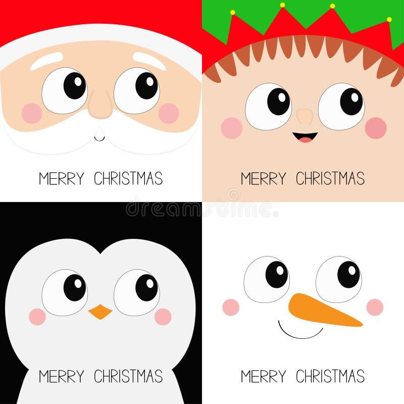Feliz Natal Grupo principal do ícone da cara quadrada do pássaro de Santa Claus Elf Snowman Penguin Ano novo Bebê assustador engr ilustração royalty free