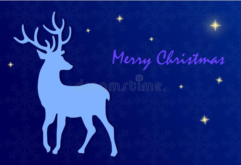 Feliz Natal - ilustração com cervos e estrelas ilustração do vetor