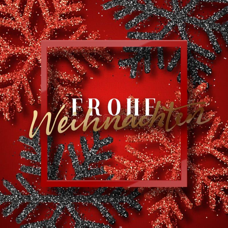 Feliz Natal Inscrição alemão Frohe Weihnachten ilustração stock