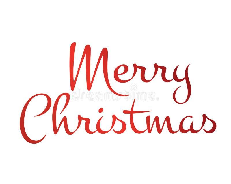 Feliz Natal isolado vermelho da palavra da escrita da mão do inclinação ilustração royalty free