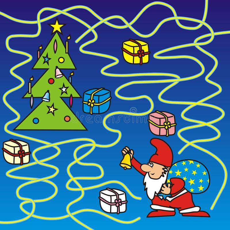 Feliz Natal - labirinto ilustração stock