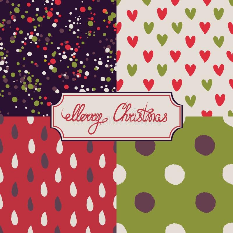 Feliz Natal lettering Jogo de testes padrões sem emenda tinta Mão desenhada ilustração do vetor