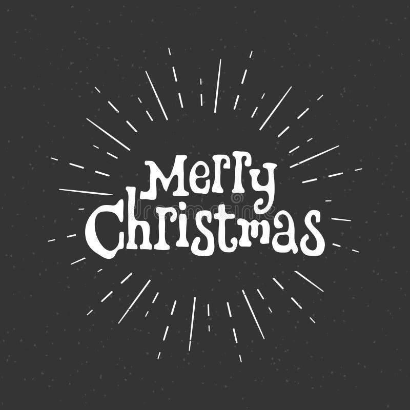 Feliz Natal logo Estilo retro Uma inscrição para seu projeto contra um fundo dos raios brancos ilustração stock