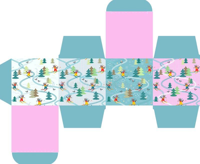 Feliz Natal! Molde da caixa de presente com os guaxinins engraçados bonitos no esqui ilustração royalty free