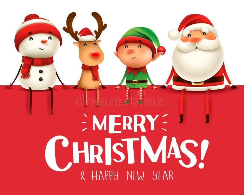Feliz Natal! Os companheiros do Natal feliz sentam-se no quadro indicador grande ilustração royalty free