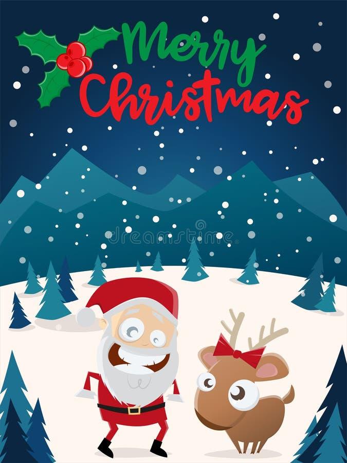 Feliz Natal Papai Noel e rena ilustração stock