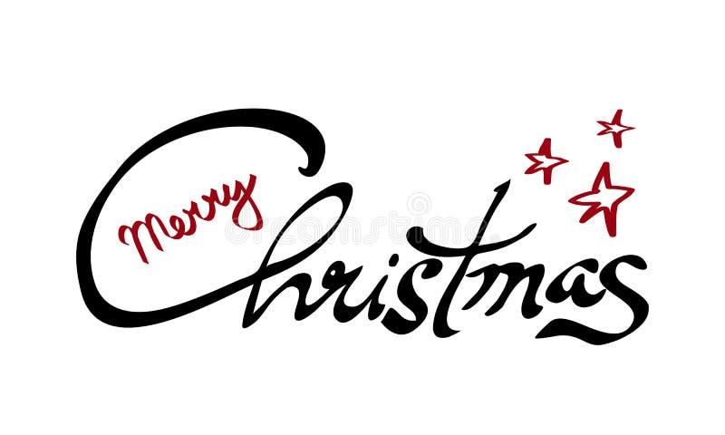 Feliz Natal preto e caligrafia vermelha da rotulação da mão isolada no branco Imagem do vetor ilustração do vetor
