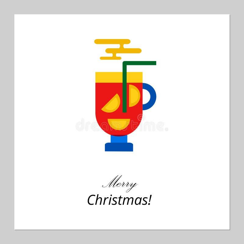 Feliz Natal, projeto de cartão do ano novo feliz A caneca lisa abstrata do xmas de feriados de inverno tradicionais ferventados c ilustração stock