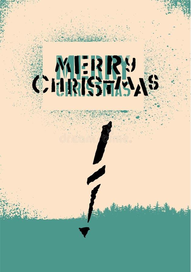Feliz Natal! Projeto de cartão tipográfico do Natal com fonte do estêncil Ilustração retro do vetor ilustração royalty free