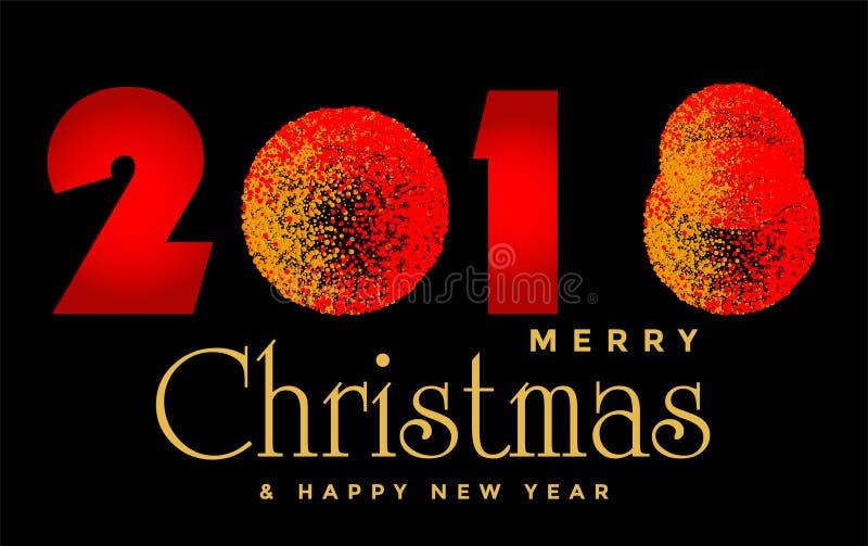 Feliz Natal projeto de cumprimento do texto de 2018 e do ano novo feliz 2019 no ícone colorido ouro no fundo preto abstrato ilustração stock