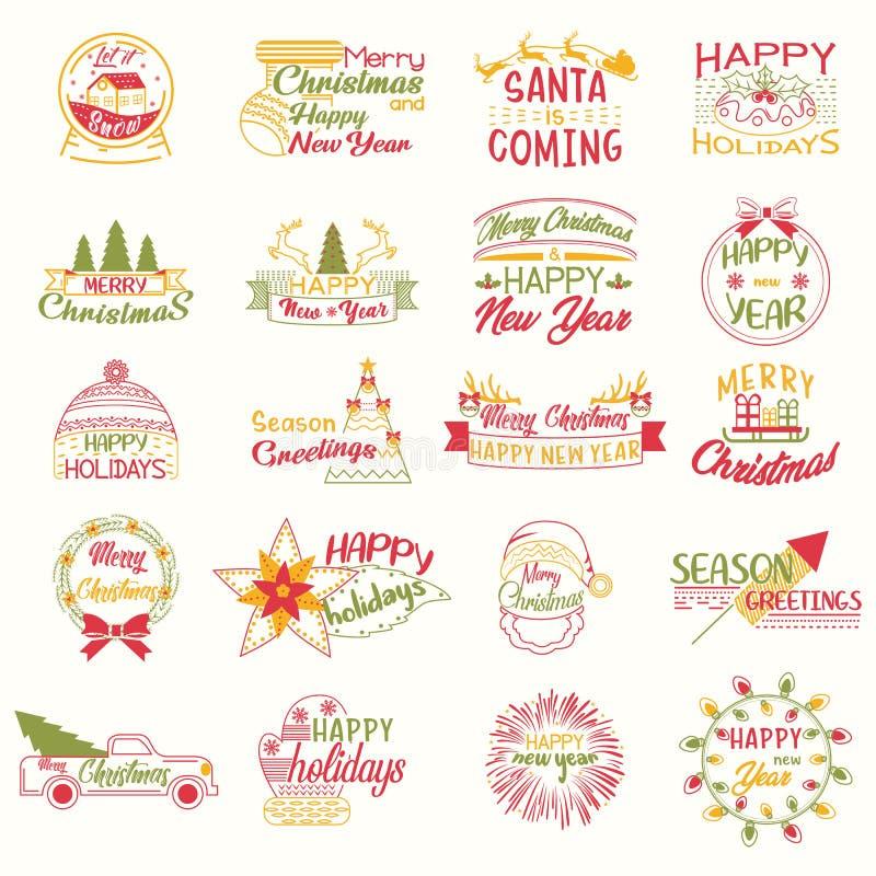 Feliz Natal Projeto de rotulação do feriado do Xmas Ano novo feliz ilustração stock