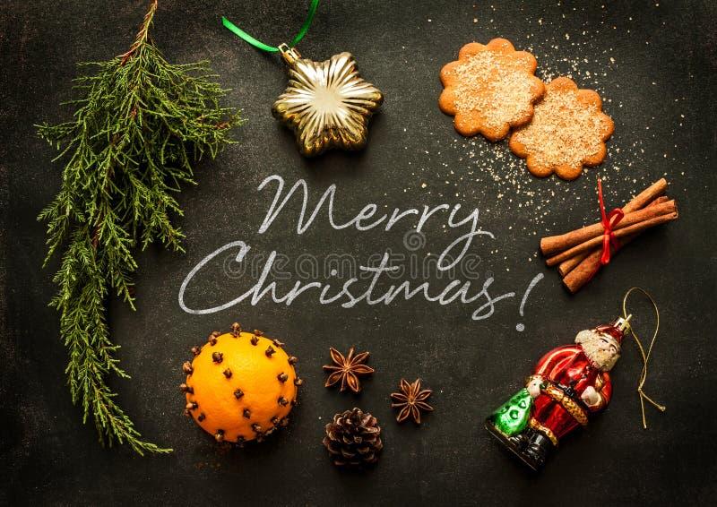 Feliz Natal - projeto do cartaz ou do cartão foto de stock