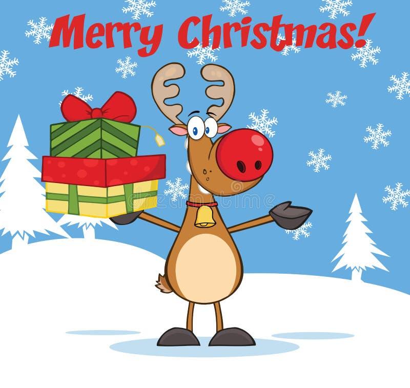 Feliz Natal que cumprimenta com a rena que sustenta uma pilha de presentes ilustração do vetor