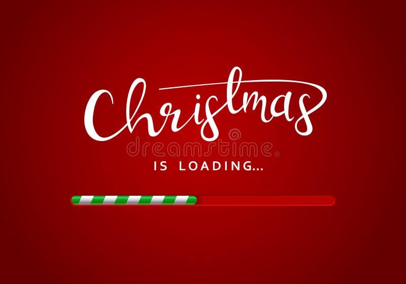 Feliz Natal que cumprimenta a mensagem no fundo vermelho com a barra de carga debaixo do sinal ilustração royalty free