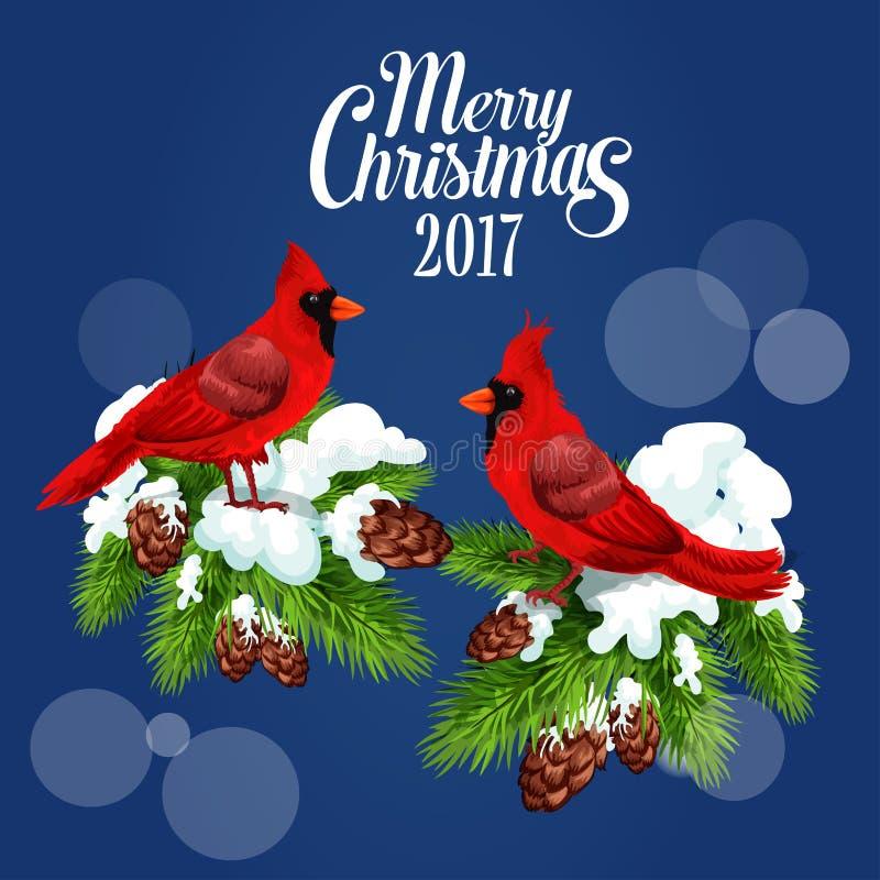 Feliz Natal que cumprimenta o cartaz, cardeal vermelho do pássaro ilustração royalty free