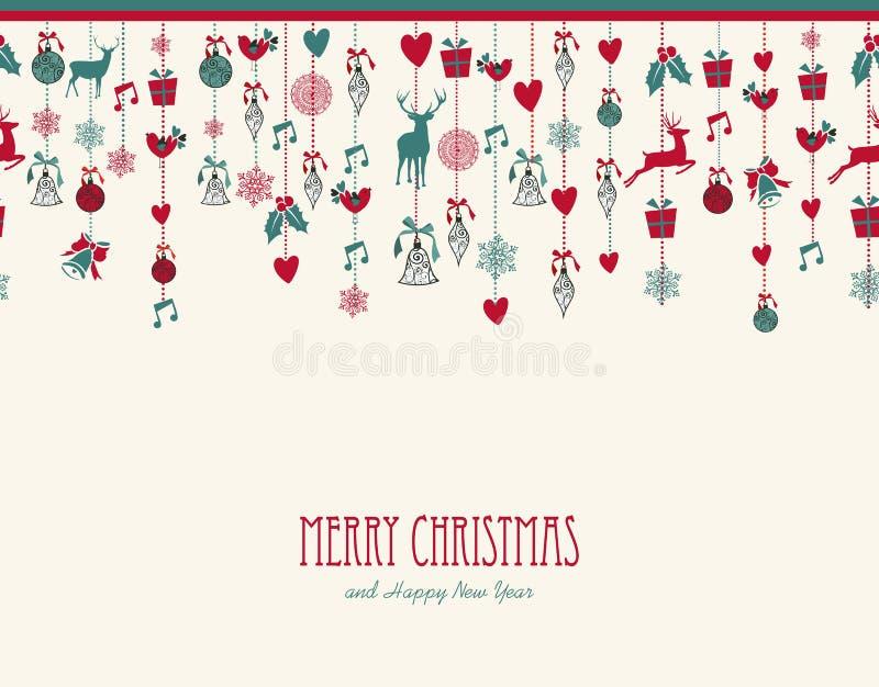 Feliz Natal que pendura estuques da decoração dos elementos ilustração royalty free
