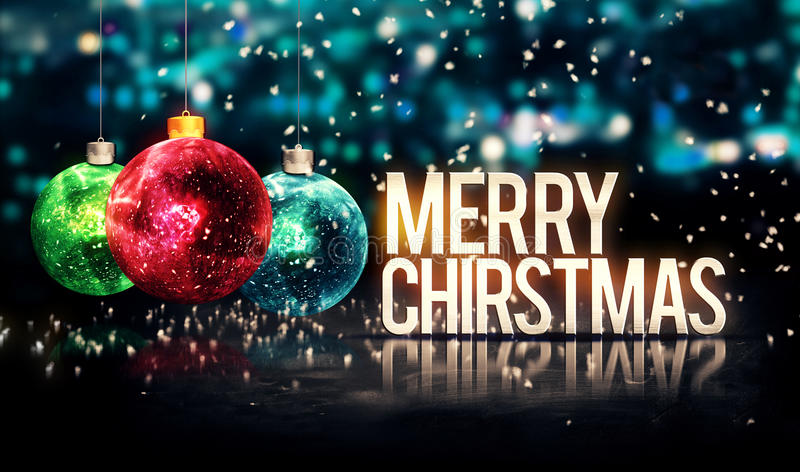 Feliz Natal que pendura quinquilharias Bokeh azul 3D bonito fotografia de stock royalty free