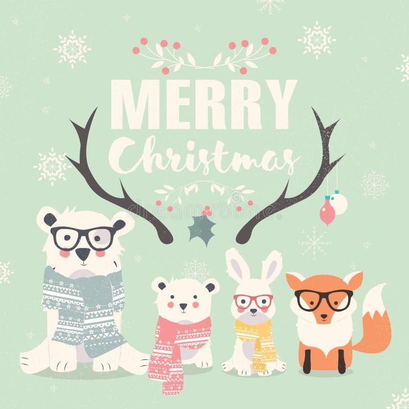 Feliz Natal que rotula com os ursos polares, a raposa e o coelho do moderno ilustração stock