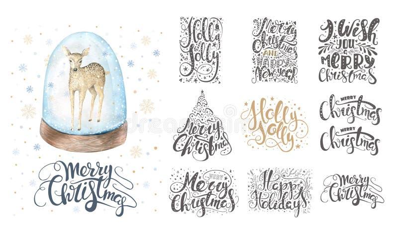 Feliz Natal que rotula sobre com flocos de neve e cervos Mão tirada ilustração do vetor