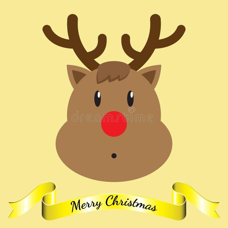 Feliz Natal - rena e fita ilustração stock
