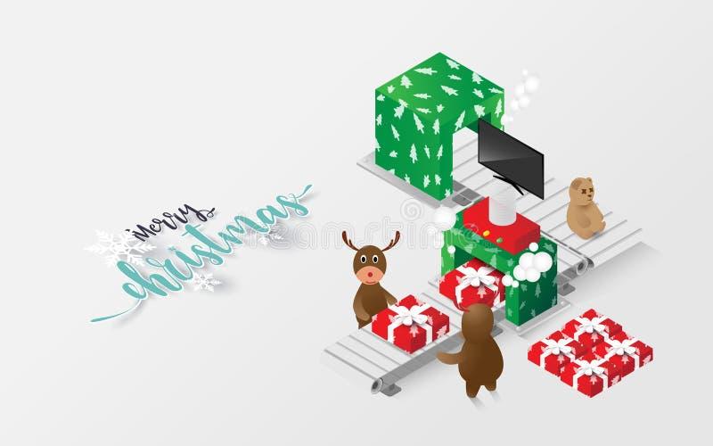 Feliz Natal rena e presente isométricos ilustração royalty free