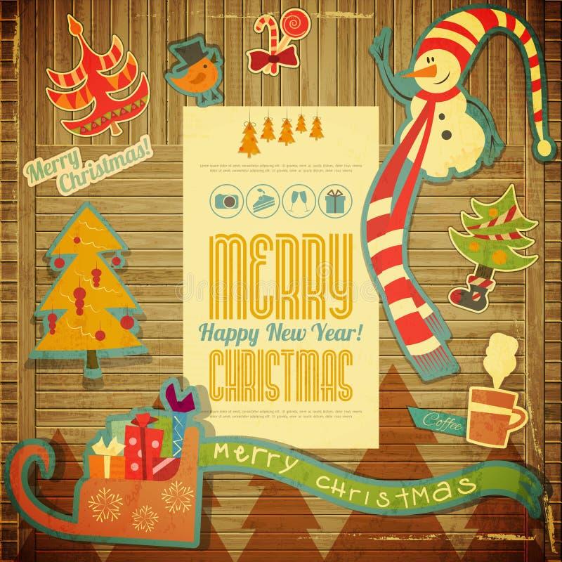 Feliz Natal retro e anos novos do cartão ilustração stock