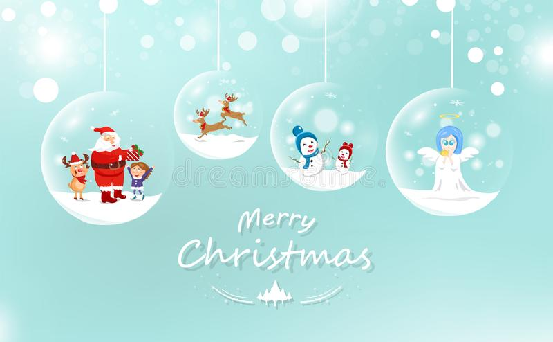 Feliz Natal, Santa Claus e criança com presente, rena e sno ilustração do vetor