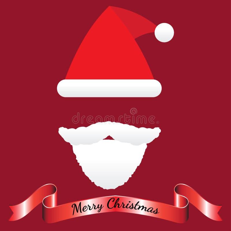 Feliz Natal - Santa Claus Hat, bigode, barba, fita ilustração stock