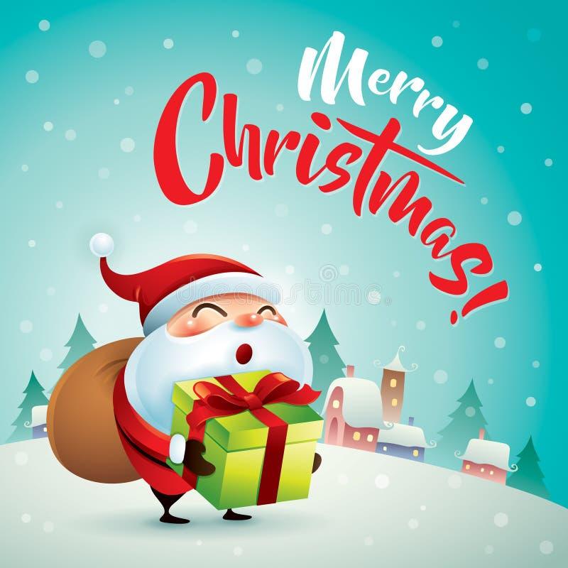 Feliz Natal! Santa Claus na cena da neve do Natal Papai Noel em um sledge ilustração stock