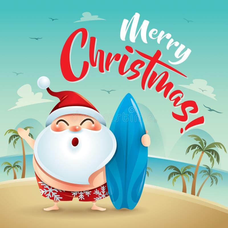 Feliz Natal! Santa Claus no feriado da praia ilustração royalty free