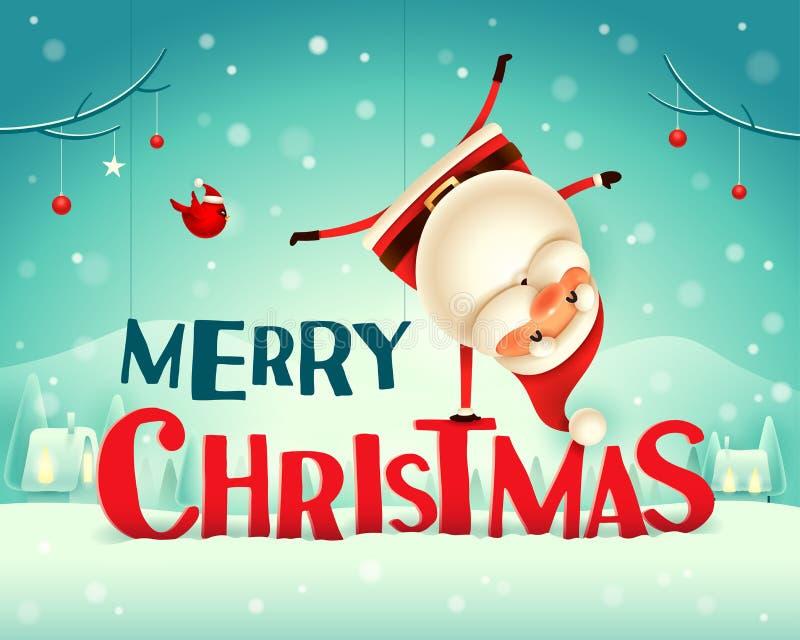 Feliz Natal! Santa Claus que está em seu braço na paisagem do inverno da cena da neve do Natal ilustração stock