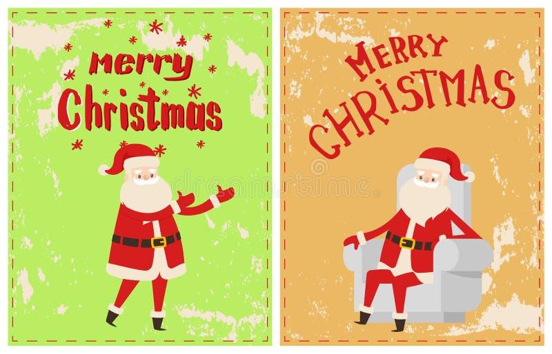 Feliz Natal Santa Claus Sitting Cosy Armchair ilustração royalty free