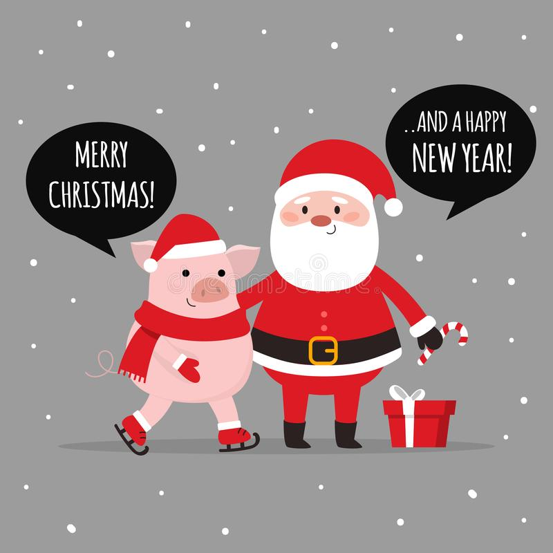 Feliz Natal Santa e porco que tem o divertimento junto HO-HO-HO Vetor ilustração stock