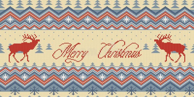 Feliz Natal Teste padrão sem emenda de lã feito malha inverno com veados vermelhos na floresta das coníferas ilustração royalty free
