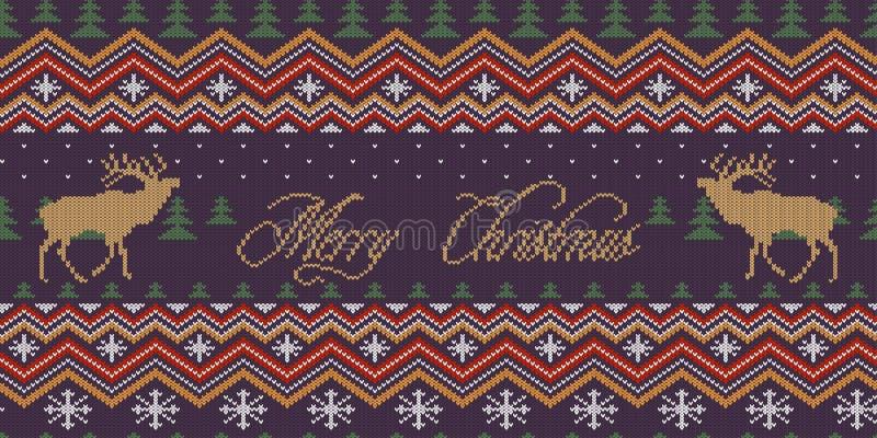 Feliz Natal Teste padrão sem emenda de lã feito malha inverno com veados vermelhos na floresta do abeto vermelho da noite ilustração do vetor